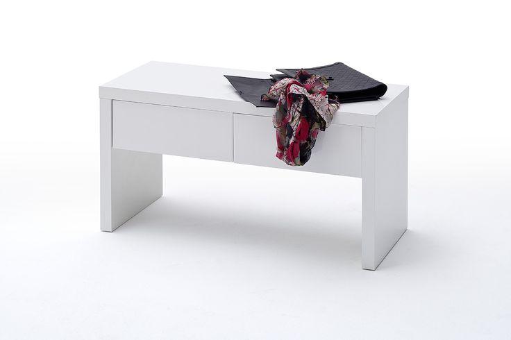 Garderobenbank Nemo Hochglanz weiß lackiert passend zum Garderobenprogramm Nemo 1 x Garderobenbank mit 2 Schubkästen Material: MDF-Platte Lack weiß...