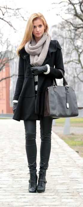 #Winter #Outfits / Black Trench Coat + Infinity Scarf