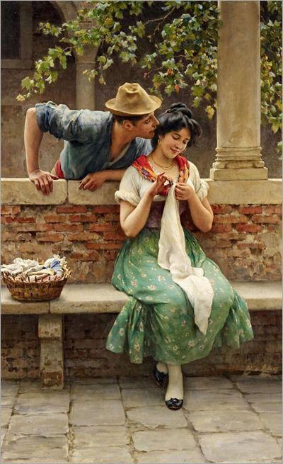 """""""Courtship,"""" 1843 -- by Eugene de Blaas (Italian-born Austrian, 1843-1931)"""