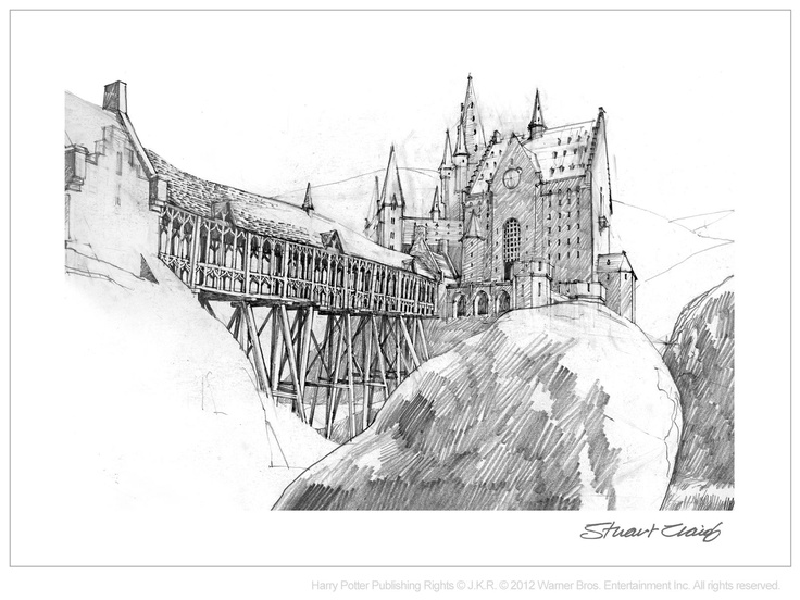 conceptual art the backside of hogwarts by stuart craig for harry potter