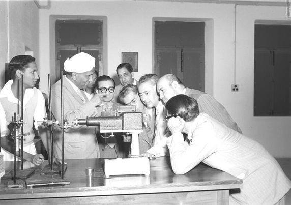 Sir C V Raman Explaining Raman Effect to his Colleagues
