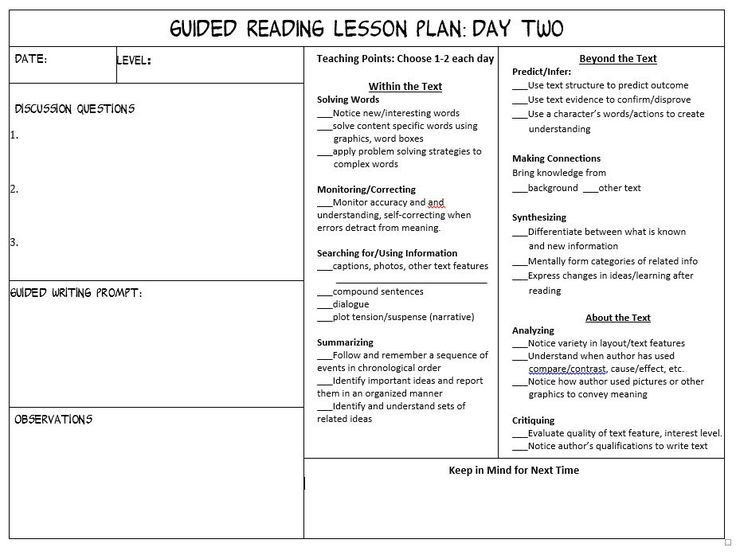 13 best reading images on Pinterest Class room, Classroom and - sample guided reading lesson plan template