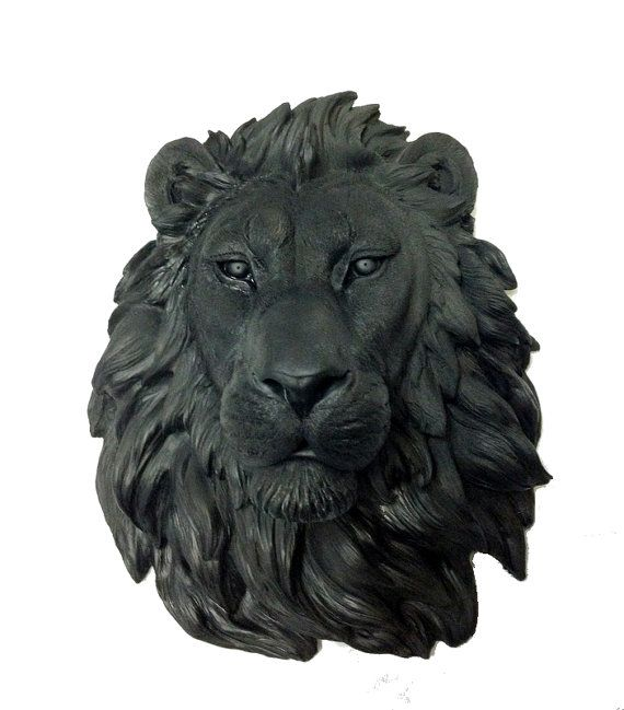 Black Lion Head Mount Wall Statue. Faux Taxidermy by FauxTaxidermy