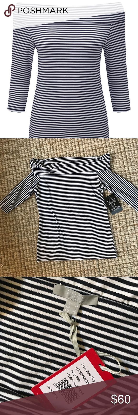 """Pure Collection off the shoulder top Blue and white striped """"Jersey Bardot Top"""". NWT. Pure Collection Tops"""