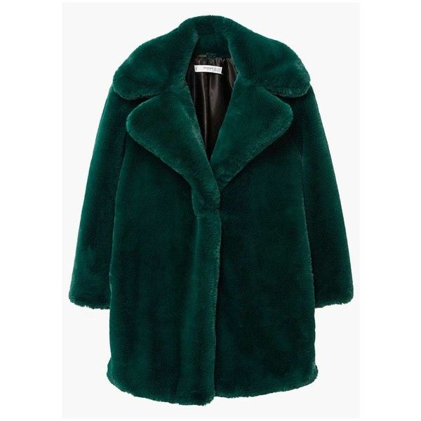 MANGO Lapels faux fur coat ($200) ❤ liked on Polyvore featuring outerwear, coats, emerald green, mango coats, green coats, faux fur coat, fur-lined coats and long sleeve coat