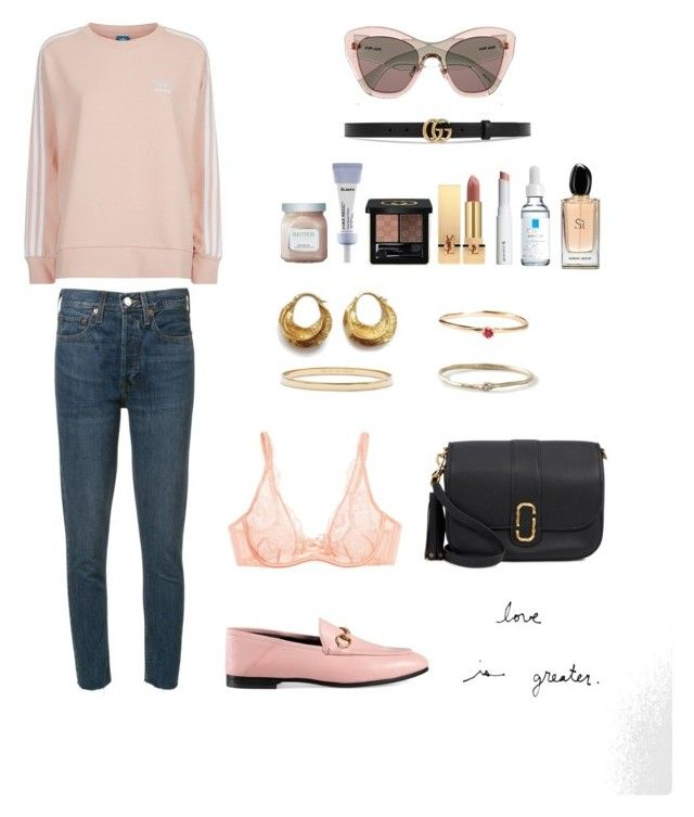 """Sans titre #49"" by slowlymydarling on Polyvore featuring mode, RE/DONE, adidas Originals, Gucci, Laura Mercier, Yves Saint Laurent, Marc Jacobs, La Roche-Posay, Grace Lee Designs et Agent Provocateur"
