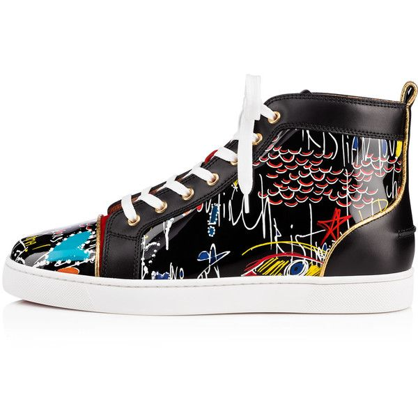 Christian Louboutin Louis Men's Flat ($995) ❤ liked on Polyvore featuring men's fashion, men's shoes, men's sneakers, mens patent shoes, mens leopard print shoes, christian louboutin mens shoes, mens black patent leather shoes and mens summer shoes