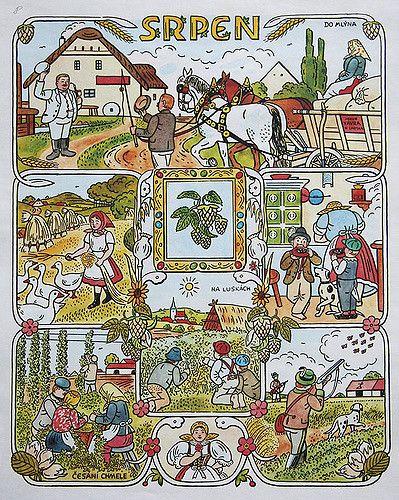 https://flic.kr/p/47DNiF | Josef Lada Calendar: August | josef lada. illustration. calendar. czechoslovakia. august