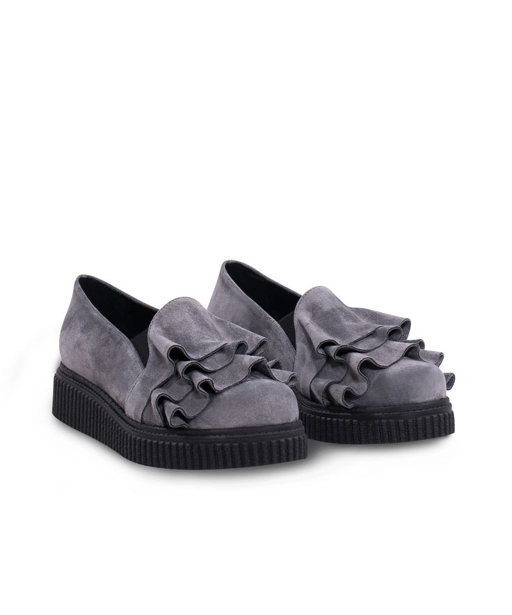 Meraki Creeper Oxford-Slip on with stylish vibes on! Grey