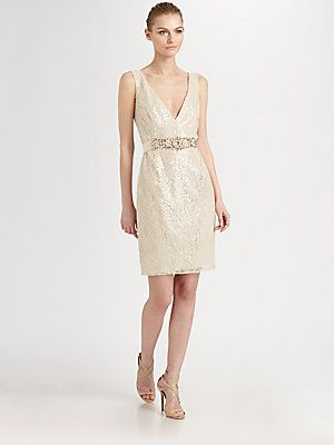 Very pretty! Badgley Mischka Sequined Lace Dress
