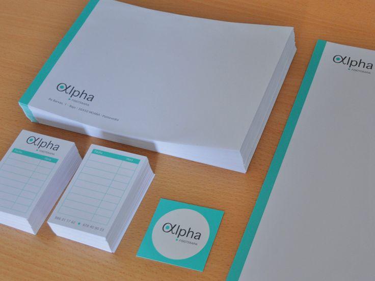 Diseño de la imagen corporativa y aplicaciones para la clínica Alpha Fisioterapia