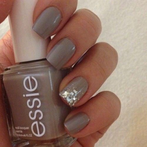 grey + silver winter sparkle manicure