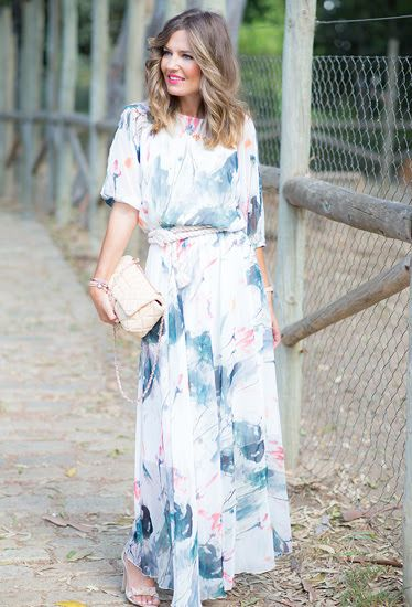 Watercolor print maxi dress with sleeves available at Mode-sty #nolayering #sleevesplease