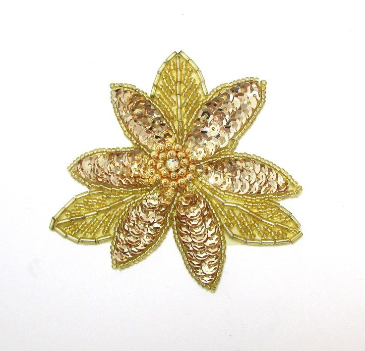 Flower with Gold Sequins, Beads and Center Rhinestone  3.5""
