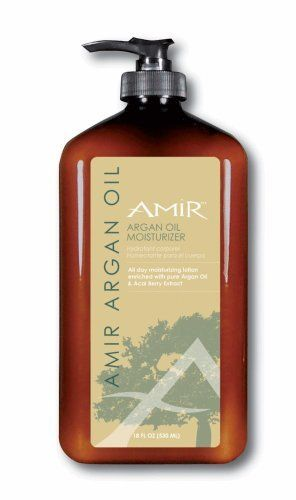 Amir Argan Oil Moisturizer - 18 oz by AMIR. $18.00. For all skin types. Daily moisturizer. Anti-Aging. Hydrating. Replenishing. Amir Argan Oil Moisturizer 18 oz.  Hand & Body Moisturizer with Argan Oil and Acai Berry  A daily moisturizer featuring essential fatty acids, high levels of Vitamin E and Omega 6 & 9, Amir Argan Oil Moisturizer revitalizes dull and dry skin and works to combat signs of aging. Argan Oil replenishes the skin's natural barrier and reduces inflammation ...