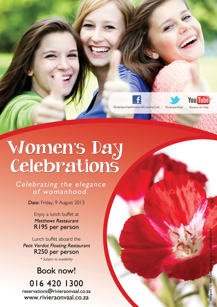 Women's Day celebration special at www.rivieraonvaal.co.za