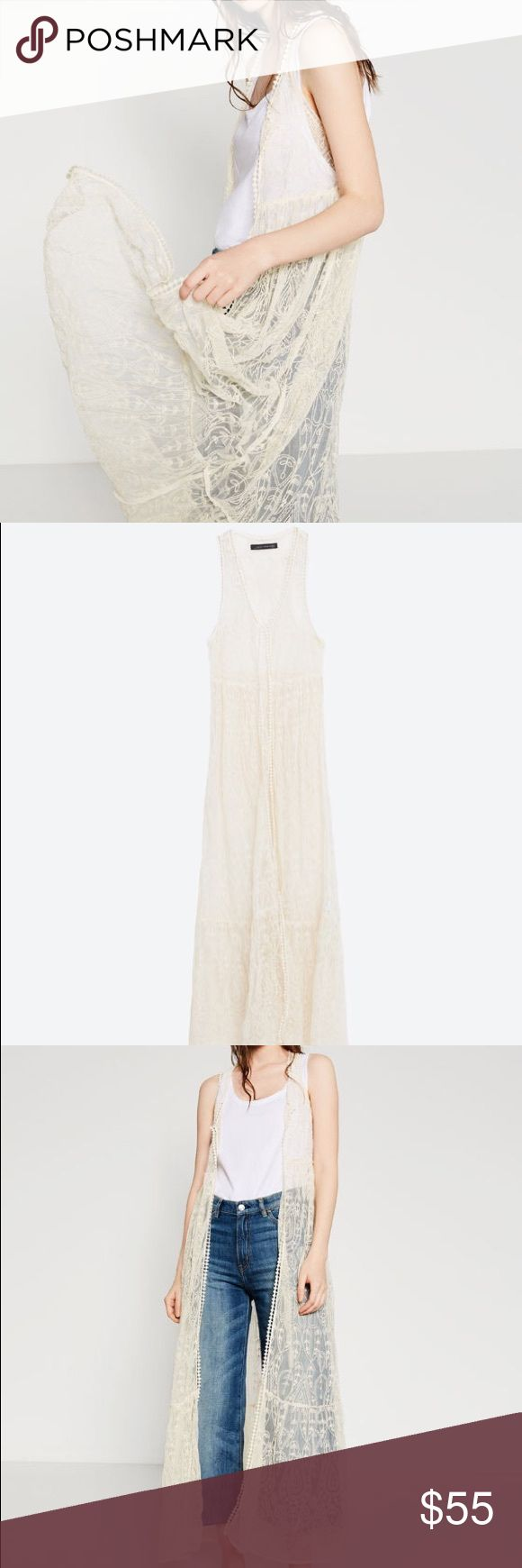 Long embroidered waistcoats (vest) Long lace waistcoat with embroidery.... Main fabric 100% polyester..... Lace 100% cotton.... Embroidery 100% cotton... Adds great interest to t shirt and jeans! Zara Jackets & Coats Vests