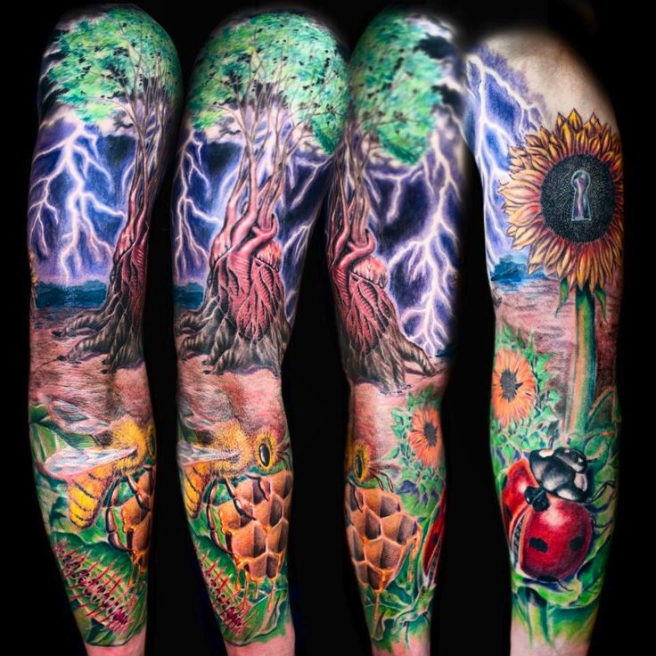 Beautiful nature sleeve tattoo | Tattoos | Pinterest ...