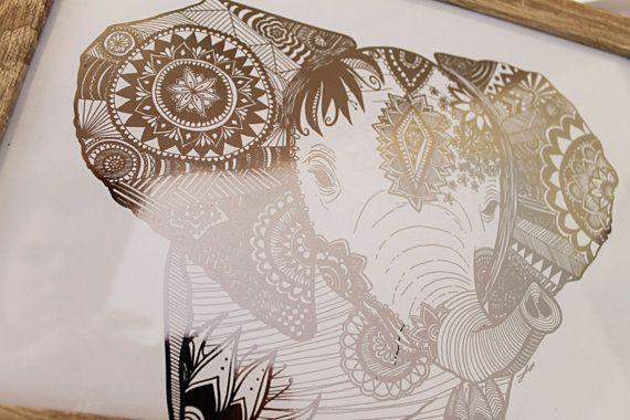 Metallic Elephant Mandala 'The Mother'  Very limited by cintarose