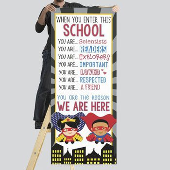 Desk Name Tags · SUPER HERO Classroom Decor LARGE BANNER When You Enter This School Classroom Banner