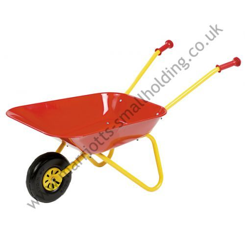 Metal and Plastic Wheelbarrow Red and Yellow  - Rolly Kid