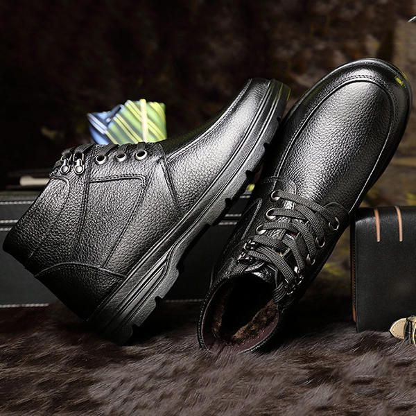 Comfy Men Casual Business Soft Fur Lining Genuine Leather Ankle Boots - US$41.92  men shoes fashion