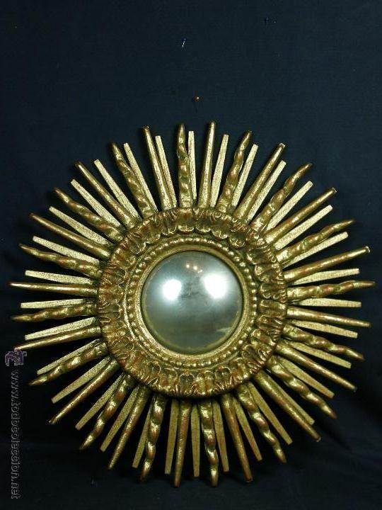 espejo convexo sol madera dorada rayos superpuestos acanto muy decorativo 2 º mitad s XX 52cms