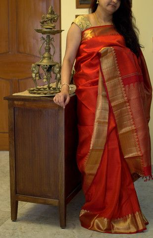 Chilli Red kanchevaram silk saree - Only on order