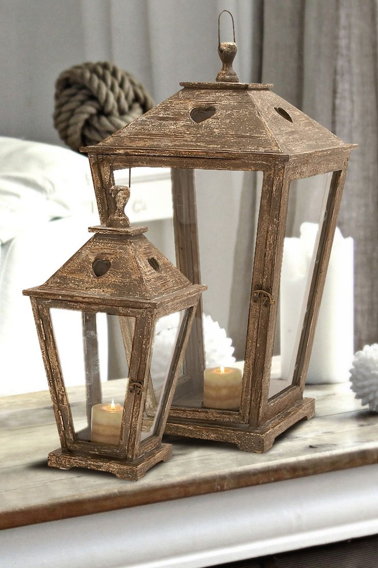 distressed wood candle lanterns