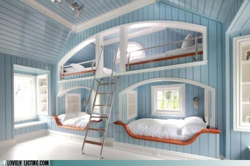Wow - I mean, even if you don't have 4 kids - this is great for like guests & stuff...I totally <3 how this looks - kinda nautical...