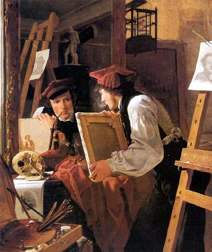 Wilhelm Bendz - Junger Maler eine Zeichnung im Spiegel betrachtend