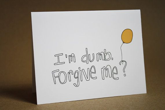 Im Sorry Card - Balloon, yellow, Im dumb, forgiveness, blank inside, apology greeting card