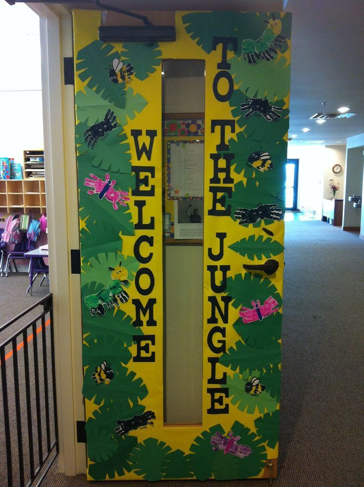 Welcome to the jungle! A terrific jungle themed classroom door to welcome students into the preschool or kindergarten jungle!