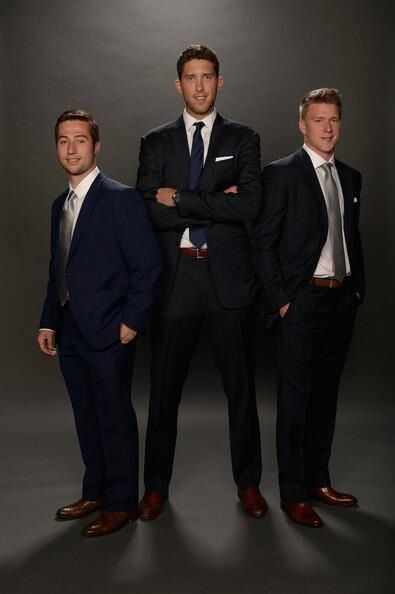 Tyler Johnson, Ben Bishop, and Ondrej Palat representing the Lightning at the NHL Awards.