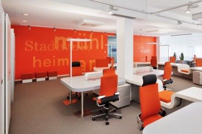 Modern Bank Hall Interior Design With Orange And White