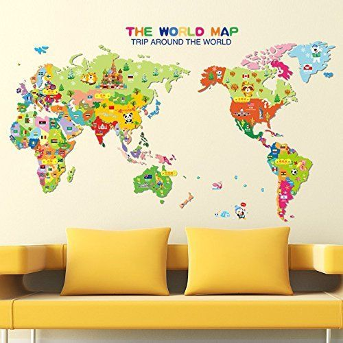 Cartoon World Map Home Decor for Nursery Kids Living Room Waterproof