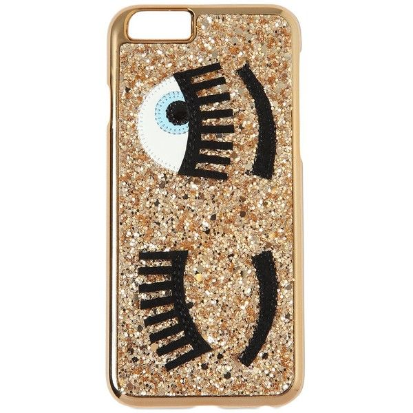 CHIARA FERRAGNI Flirting Glitter Iphone 6 Case found on Polyvore featuring accessories, tech accessories, gold and chiara ferragni