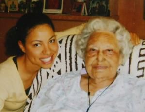 Henrietta Bell Wells, the first female member of the Wiley College debate team, with actress Jurnee Smollett