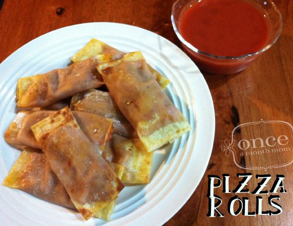 Easy Homemade Pizza Rolls | OAMC from Once A Month Mom #pizza #vegetarian #freezer