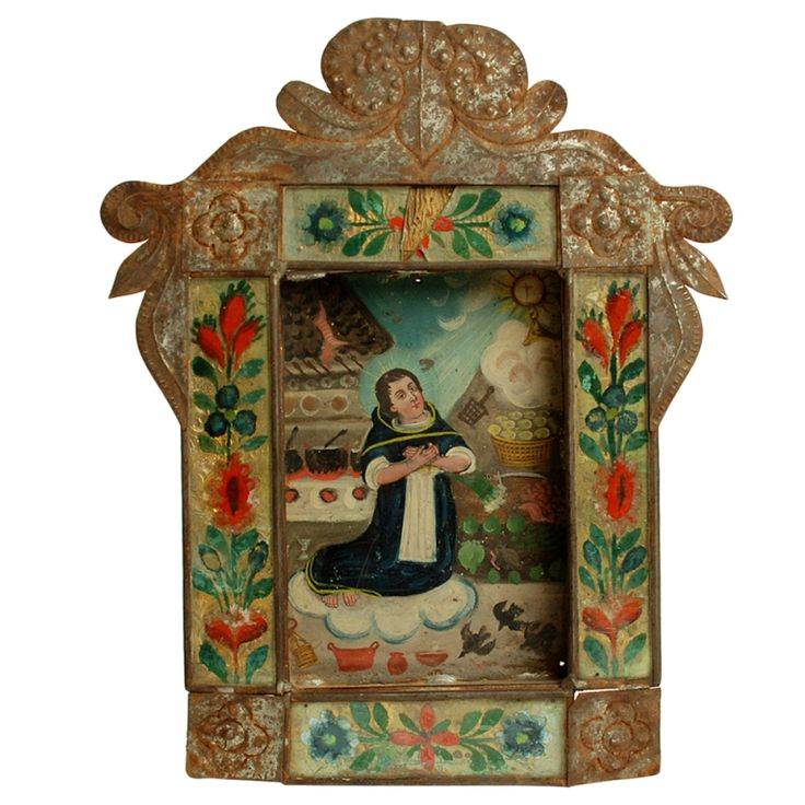 A Superb 19th Century Mexican Retablo - San Pascual Bailon. The Kitchen Saint