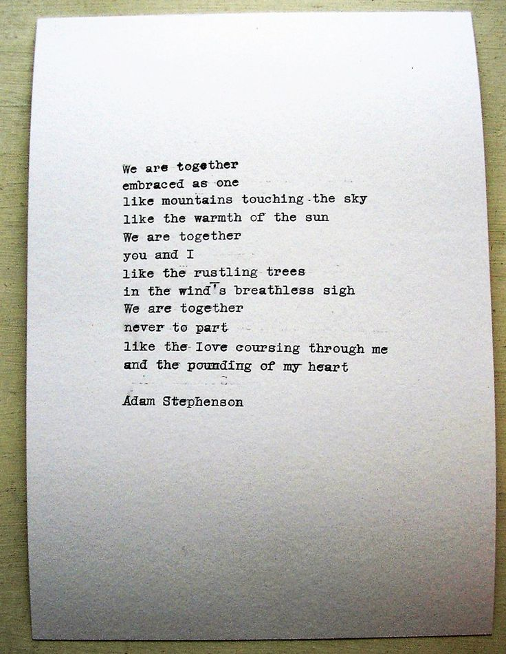 Romantic poem original typewriter poetry WE TWO TOGETHER cotton paper gift for her or for him girlfriend wife writer Adam Stephenson Ireland by AdamStephensonPoetry on Etsy