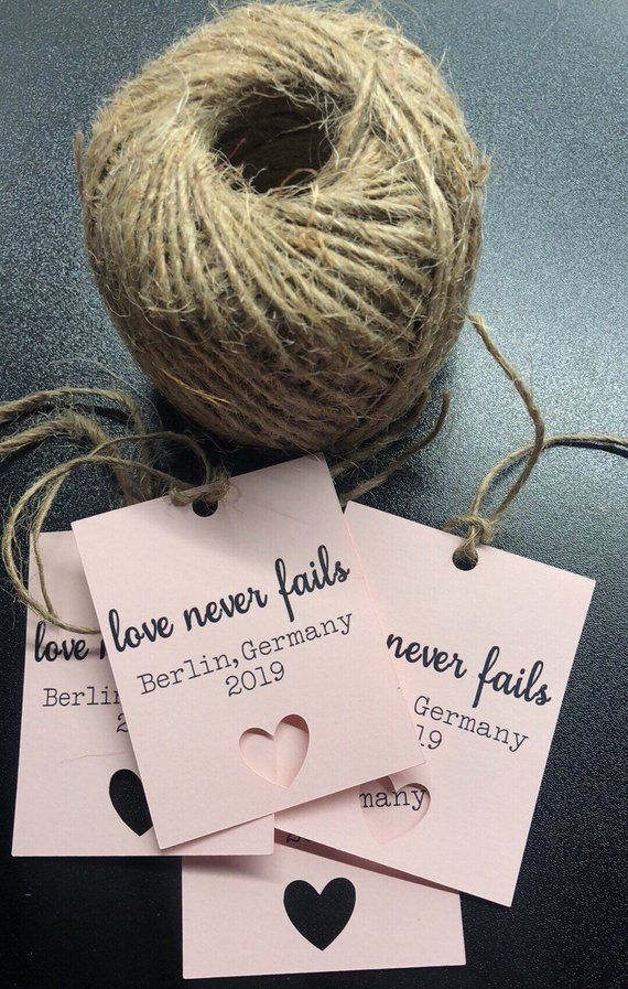 6 Tags Love never fails gift tag/ international convention