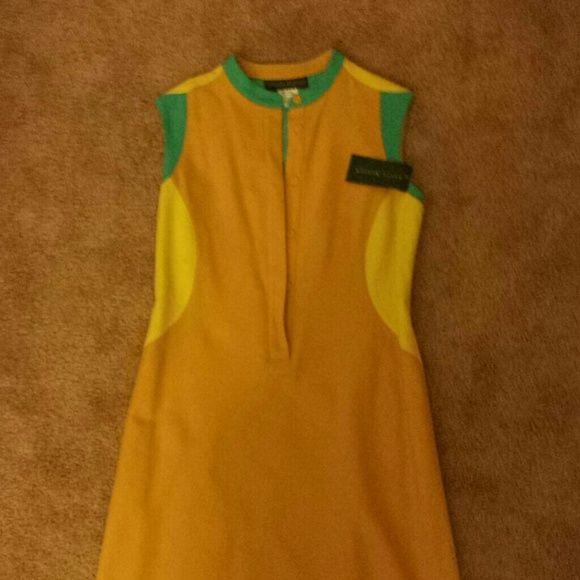 Harve Bernard wool dress Gold torquise n canary yellow wool, all weather sleeveless dress Harve Benard Dresses