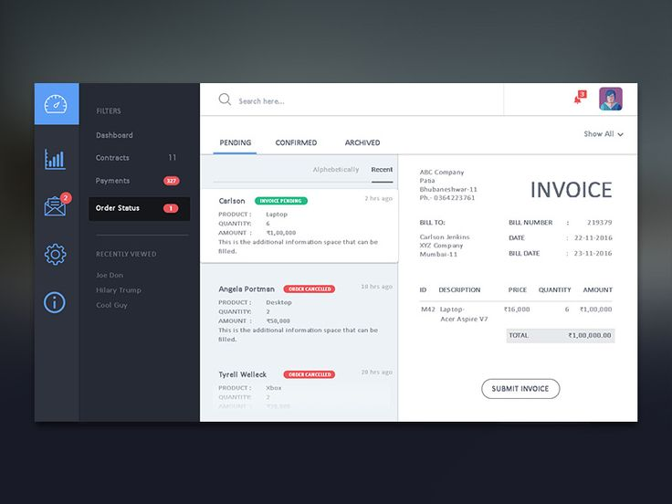 Here is a dashboard design that I previously worked on that enables suppliers to send invoices and manage orders without the hassle of sending an email. I would love to know what you think. Hit