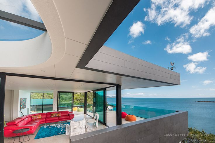 Bay views from this new home designed by Andre Laurent of Creative Spaces #ADNZ #view #architecture