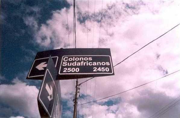 Die straatteken in Comodoro Rivadavia van; dit eer die Boeregemeenskap.