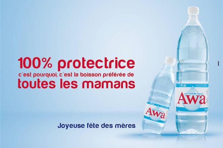 """À l'occasion de la fête des mères, l'agence Voodoo Communication a réalisée une campagne publicitaire pour le compte de """"Awa eau minérale"""" reprend les codes autour des valeurs maternelles. ©  Ange Servais"""