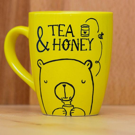 Yellow tea mug  Tea & Honey  coffee mug by HandwrittenMugs on Etsy