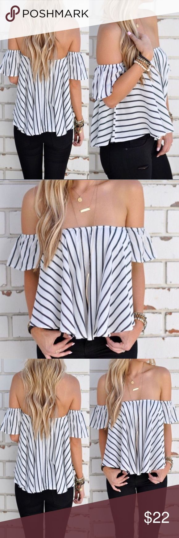 More coming soon Off The Shoulder Top More coming soon! Please like this listing if you want to be notified when the top is back in stock   5⭐️ Rated!  Gorgeous off the shoulder top for this summer. Wear it casually or dress it up for a fun night on the town! Smoke and Pet Free Home. Price firm unless bundled. Bundle and save! Tops
