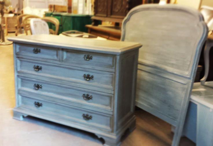 C moda con 3 cajones grandes y 2 peque os decapado en azul - Estilo provenzal muebles ...